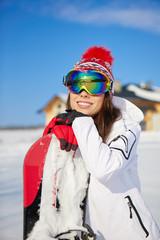 Winter, ski, snow and fun - snowboarder portrait - space for tex