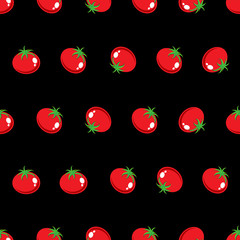 red tomato stock vector seamless pattern on black background for wallpaper, pattern, web, blog, surface, texture, graphic & printing