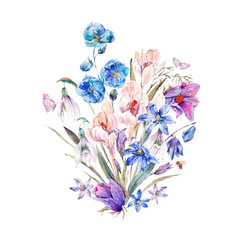 Watercolor spring bouquet with blue wildflowers and snowdrops