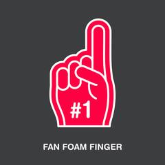 Fan foam finger vector line icon. Sport supporting sign. Cheerleading illustration.
