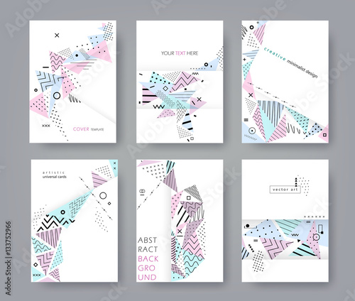Minimalist Book Cover Template ~ Quot set of artistic universal cards flat creative minimalist