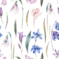 Watercolor spring seamless background with blue wildflowers