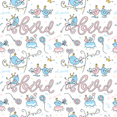 Birds seamless pattern on white background. Template Valentines Day. Love, heart, trees, crown.