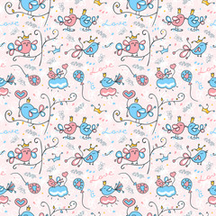 Seamless pattern with cute birds. Background with flowers for the holiday,textile.