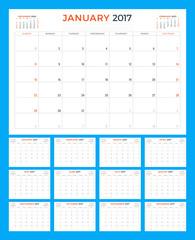 Calendar Template for 2017 Year. Week Starts Sunday. Set of 12 Months. Stationery Design. Vector Illustration