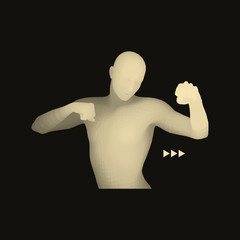 Boxer. 3D Model of Man. Human Body. Sport Symbol.