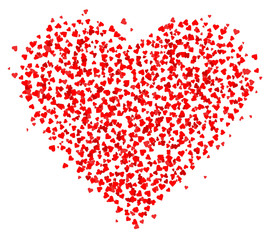 Lots of small Red Hearts composed in one heart shape, decoration for greeting cards about love. Happy Valentine€™s day greeting card isolated on white background. Vector illustration. EPS10