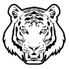 Tiger head monochrome vector illustration.