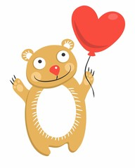 Teddy bear with a balloon in the form of heart