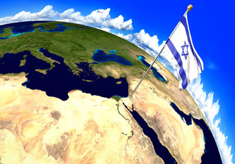 Israel national flag marking the country location on world map. 3D rendering, parts of this image furnished by NASA