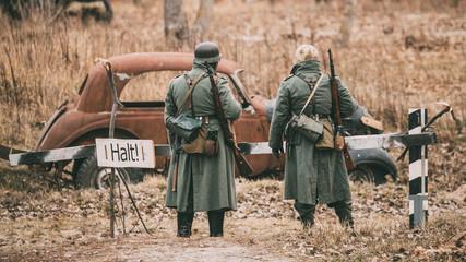 Unidentified Re-enactors Dressed As German Infantry Wehrmacht so