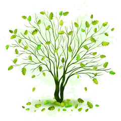 Green tree with leaves vector