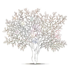 Tree with leaves silhouette. Page for coloring book vector