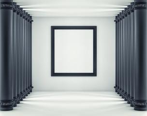 black frame on a white background. Mockup 3d render