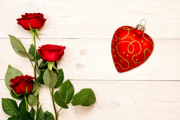 valentine's day card, 3 roses and heart shaped glass bauble