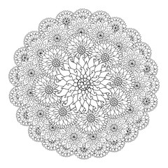 Black and white circle floral ornament. Round lace flower mandal