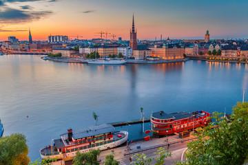 In de dag Stockholm Stockholm. Cityscape image of Stockholm, Sweden during twilight blue hour.