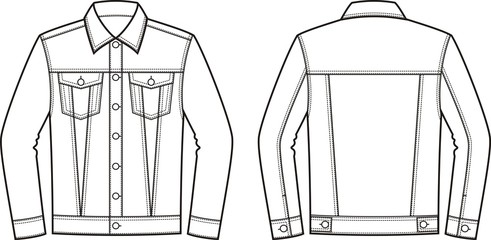 Jean jacket. Front and back Wall mural