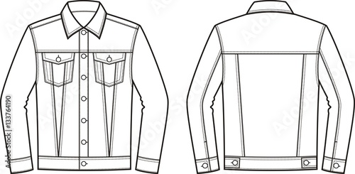 jean jacket front and back stock image and royalty free vector