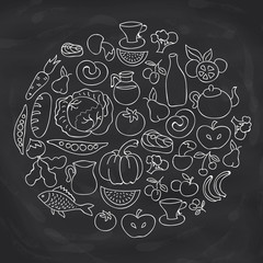 Hand drawn food ring label. Vector sketch chalk board drawing foods icon collection