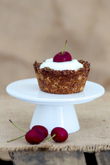 Healthy Breakfast granola cup and cherries