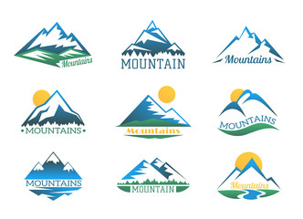 Mountains logo set. Mountain peak landscape with snow cover emblems vector illustration