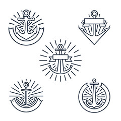 Vintage anchors linear logo set or line nautical labels in retro style isolated on white background