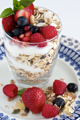 Berries granola with berries and yoghurt