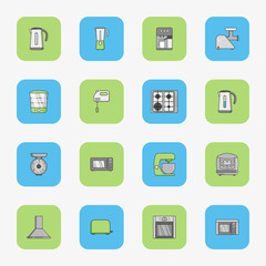 Set of flat dquare icons for kitchen equipment such as kettle, oven, microwave, blender, mixer, steamer, coffee machine, scales, meat grinder