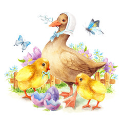 Happy Easter greeting card Duck and chicken