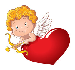Cute playful cupid with bow and arrow behind the heart. Isolated. Cartoon vector illustration of a Valentine's Day