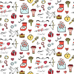 Seamless pattern with hand drawn doodle Love and Feelings collection. Vector illustration. Sketchy background for Valentine's day, wedding, love and romantic events, mother's day. Hearts, dove, ring.