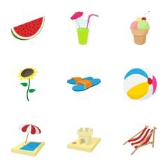 Beach vacation icons set, cartoon style