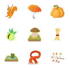 Autumn icons set, cartoon style