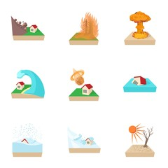 Natural catastrophe icons set, cartoon style