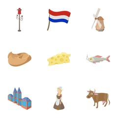 Country Holland icons set, cartoon style