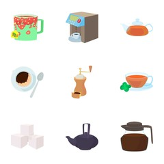 Tea icons set, cartoon style