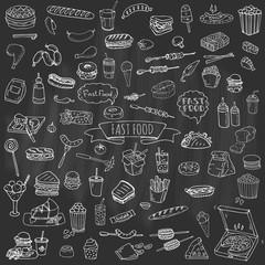 Hand drawn doodle Fast food icons set. Vector illustration. Jun food elements collection. Cartoon snack various sketch symbols: soda, burger, potato,hot dog, pizza, tacos, sweet desert, donut, popcorn