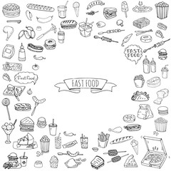 Hand drawn doodle Fast food icons set. Vector illustration. Jun food elements collection. Cartoon snack various sketch symbols: soda, burger, potato,hot dog, pizza, tacos, sweet desert, donut, popcorn