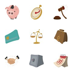 Marketing icons set, cartoon style