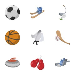 Accessories for training icons set, cartoon style