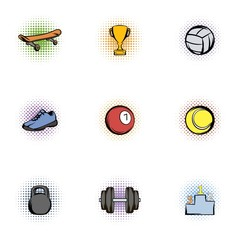 Accessories for training icons set, pop-art style