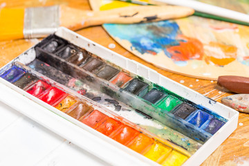 Professional watercolor paint in plastic box