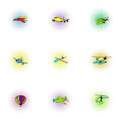 Flying vehicles icons set, pop-art style