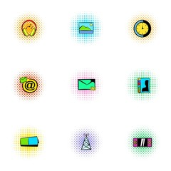 Web communication icons set, pop-art style