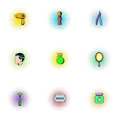 Salon icons set, pop-art style