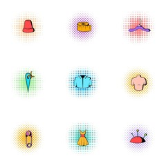 Tools for sewing dresses icons set, pop-art style