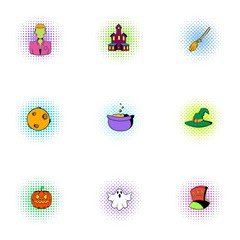 All saints day icons set, pop-art style
