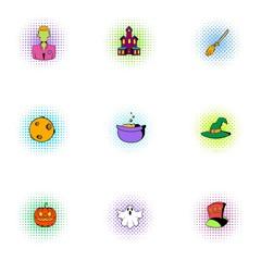 All saints day icons set, pop-art style