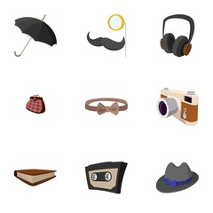 Hipster people icons set, flat style